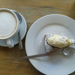 Latte and homemade carrot cake - totally delectable!