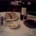 Wine and delicious bread with great service!