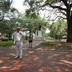 Savannah Dan in front of Ogilthorpe Statue