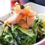Smoked salmon salad with caperberries, beans & dill dressing