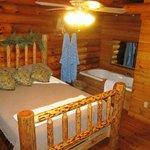 Cabin #3 - Main floor bedroom with whirlpool tub