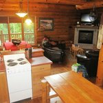 Cabin #3 - TV & dining area from kitchen