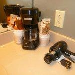 coffee maker, hair dryer