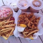Lobster roll and clam strips