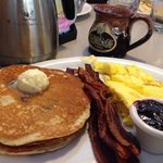 A mouth watering classic. Blueberry pancake combo and delicious Intelligentsia coffee.