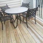 Balcony; deck had old, splintered wood