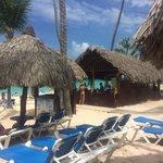 Beach with beach bar.