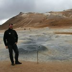 Owner and tour guide, Thordur, at the steam vents at Hverir.