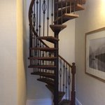 Spiral staircase to the bedroom