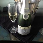 Complimentary champagne promotion-nice touch!