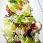 Salad with arugola, cucumber, radish, bread croutons and Feta cheese from Srednji Vrh