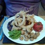 Steak and mushy peas to die for