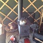 Log burner inside the yurt