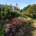 Looking up the driveway to the lodge - beautiful flowers