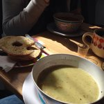 Lovely soup and a bagel