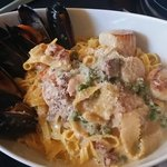 Seafood carbonara, featuring Newfoundland mussels, caught fresh everyday