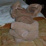 Animaux en serviettes sur le lit