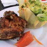 Jerk Chicken & Salad from outdoor grill