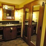 Bathroom vanity area & closet