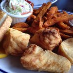 Great halibut fish n chips, cold beer and creamy chowder!