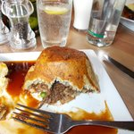 Delicious steak and kidney pudding