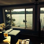 looking out over the lake from the lounging room