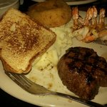 my meal surf and turf with mashed potatoes and gravy