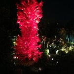 Glass sculpture in the garden at night