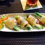 "Duck ""Springrolls"" (fresh vegetables wrapped in thin pancake) with plum sauce."