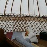 Inside oak yurt