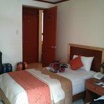 twin bed facing front door