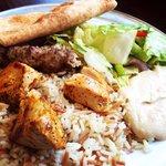 Lula Kabob, chicken kabob, hummus, pita, salad & Armenian pilaf