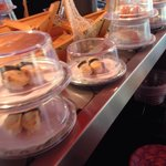 Conveyor belt with hygienic kids (unlike Yo sushi!). But watch out for salmon that has gone off,