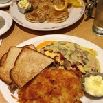 The famous traditional pancakes and omelette for breakfast