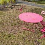 rusty table & dead grass
