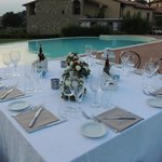 table set for our private dinner by the pool