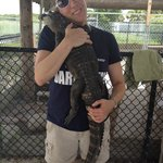 Hugging Wally the alligator