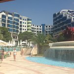 View of hotel from the pool area