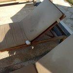 broken and dirty sun beds