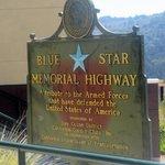 Blue Star Memorial Highway - Tribute to Veterans Plaque by Junipero Serra Statue, San Mateo, Ca