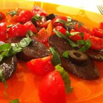 Eggplant and Tomato with olives and basil