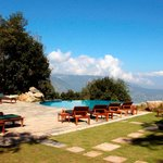 The pool area with a view across to the Himalaya