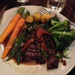 The elk skirt stake - normally comes with parsnip puree, but I asked for additional veggies.