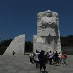 The image of Dr King is as though it has been slid forward 30 feet or so from two other large pi