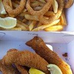 Whiting, calamari and chips. Yummo!