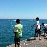 Fishing off the wharf - no guard rail