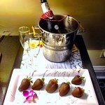 Hotel provided chilled champagne and Choco Strawberries!
