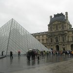 Louvre in the rain - not much cover lining up to enter
