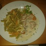Chicken with mushroom sauce and pasta