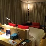 Deluxe room - spacious. Faces the 90 degree floor to ceiling windows (covered by night curtains